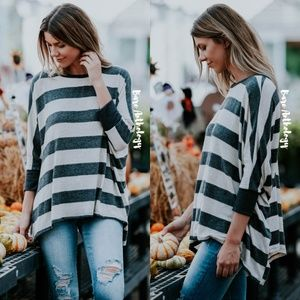 Tops - Striped Dolman Sleeve Tunic Top